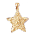14k gold crescent moon in celestial star medallion