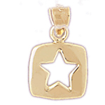14k gold disc charm with cutout celestial star
