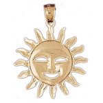 14k gold smiley face sun pendant