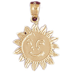 14k gold sunflower sun pendant