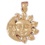 14k gold moon and sun pendant