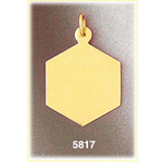 14k gold engravable hexagon disc pendant