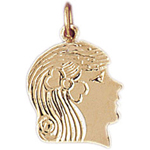 14k gold girl face charm