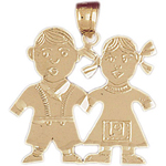 14k gold twin boy and girl pendant