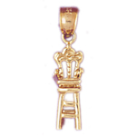 14k gold 3d high chair charm