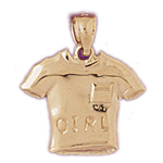 14k gold girl t-shirt charm