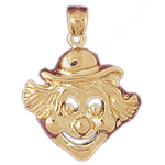 14k gold clown face pendant