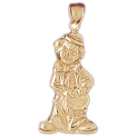 14k gold clown with drum pendant