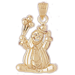14k gold clown with balloons pendant