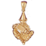 14kt gold clown with accordion charm