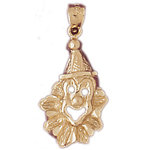 14kt gold clown face charm