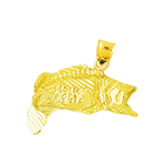 14k gold wide mouth bass charm