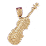 14kt gold violin instrument pendant