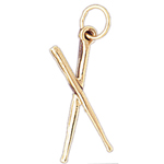 14k gold 3d drumsticks charm
