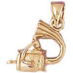 14k gold 3d phonograph charm