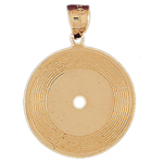 14k gold record pendant