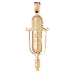 14k gold classic microphone pendant