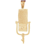14k gold announcer microphone pendant