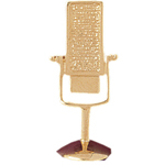 14k gold radio announcer microphone pendant