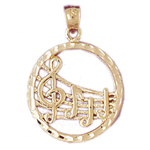 14k gold music notes pendant