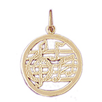 14k gold musical notes charm