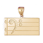 14k gold bass clef pendant