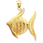14k gold angelfish charm pendant
