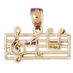 14k gold music staff charm