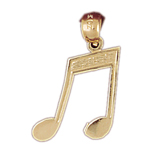14k gold single bar music note pendant