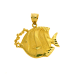 14k gold jumbo angelfish pendant