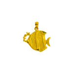 14k gold bubbly angelfish pendant
