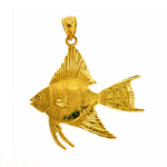 freshwater 14k gold angelfish pendant