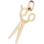 14k gold barber scissors charm