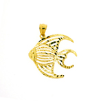 14k gold cut out angelfish pendant