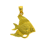 14k gold angel fish pendant
