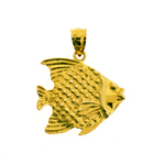 sea life 14k gold angelfish pendant