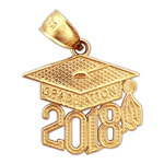 14k gold 2018 graduation cap charm