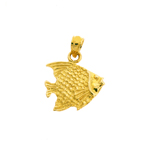 14k gold angel fish charm