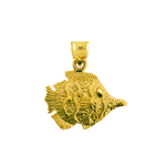 14k gold ocean angelfish pendant