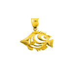 14k gold cut-out angel fish pendant