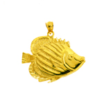 14k gold large angel fish pendant