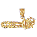 14k gold chainsaw pendant