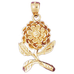 14k gold budding flower pendant
