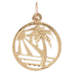 14k gold palm tree and ocean sunset charm