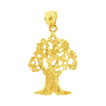 14k gold oak tree charm pendant
