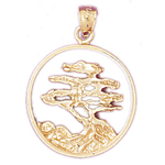 14kt gold elm bonsai tree in circle pendant
