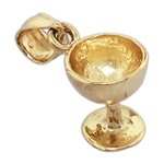 14k gold 3d wine glass charm