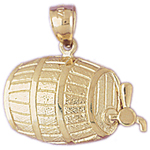 14k gold beer barrel charm