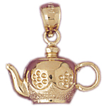 14k gold tea kettle charm