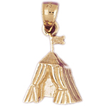 14k gold camping tent charm
